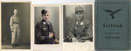 WK II Dokumente - AFRIKA-FELDZUG! LUFTWAFFE-SOLDBUCH 1940-1943 Und 3 Militär-Foto-Ak (teils Mängel) Jeweils Mit Armbinde - Weltkrieg 1939-45