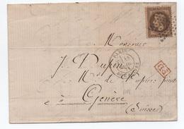 1871 - LETTRE De PARIS Pour GENEVE (SUISSE) Avec N° 30 - France