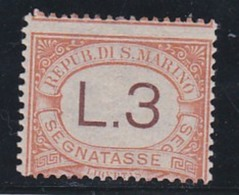 1925 San Marino Saint Marin SEGNATASSE 3 LIRE ARANCIO (25) MLH* POSTAGE DUE - Segnatasse