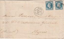 Yvert 29 X 2 LSC PARIS Place De La Bourse étoile 1 Du 31/5/1867 Pour Béziers Hérault - Marcofilie (Brieven)