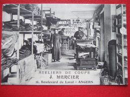 """49 - ANGERS - """" ATELIERS DE COUPE : J. MERCIER , 16 BOULEVARD DE LAVAL - ANGERS """" - """" CARTE TRES, TRES RARE """" - - Angers"""