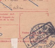 Marles Les Mines Pas De Calais 1956 Carte De Contre Remboursement Taxe Retour à L'Envoyeur Pierre Chauty Contentieux - 1859-1955 Cartas