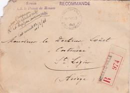 """MONACO - 1 Lettre RECOMMANDE """"Service De S.A.S. Le Prince De Monaco"""" / 1941 / CACHET DE CIRE AU DOS - Marcophilie"""
