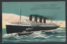 """+++  CPA - Bateau - Le Transatlantique """" FRANCE """" - Ligne Du Havre à New York  // - Dampfer"""