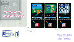 Israel FDC 1990, Computerspiele, Computer Games, Schach, Chess, échec, Michel 1177 - 1179 (3-25) - FDC