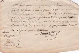 DEPOT DE PLAINTE PAR PROCUREUR AU PARLEMENT DU DAUPHINE / 8 JUIN 1784 / AU DOS CACHET PARLEMENT GRENOBLE - Documents Historiques