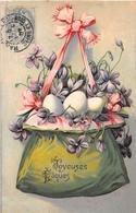 ¤¤   -  ILLUSTRATEUR   -  Joyeuses Pâques  -  Oeufs , Panier , Fleurs   -  Carte Gauffrée    -  ¤¤ - Pâques