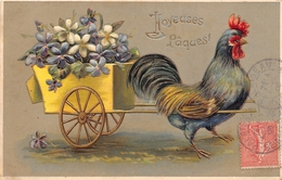 ¤¤   -  ILLUSTRATEUR   -  Joyeuses Pâques  -  Coq , Attelage , Fleurs   -  Carte Gauffrée    -  ¤¤ - Pâques