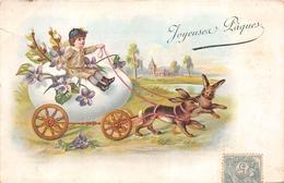 ¤¤   -  ILLUSTRATEUR   -  Joyeuses Pâques  -  Lapins , Attelage , Fleurs      -  ¤¤ - Pâques