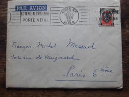 Lettre D' Alger, Flamme JEU  ' LOTERIE ALGERIENNE PORTE VEINE , 1950, TB - Giochi