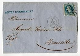 !!! ALGERIE : LETTRE DE 1868 POUR MARSEILLE CACHET MARITIME ALGER BAT VAPEUR - Marcophilie (Lettres)