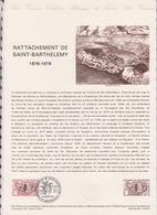 1ER JOUR FEUILLET DOCUMENT PHILATELIQUE 03/1978 RATTACHEMENT DE SAINT BARTHELEMY - Documents De La Poste