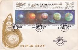 FDC. HISTORY OF THE EARTH. PYONG YANG DPR KOREA NORTH KOREA. SPACE COSMOS.-BLEUP - Corea Del Norte