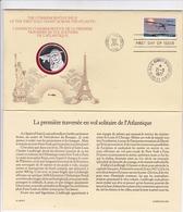 MEDAILLE ARGENT MASSIF + TIMBRE PREMIER JOUR  / EMISSION COMMEMORATIVE PREMIERE TRAVERSEE EN SOLITAIRE ATLANTIQUE - Unclassified