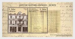 Litouwen / Lithuania - Postfris / MNH - Sheet 100 Jaar Wederopbouw Litouwse Staat 2018 - Lithuania