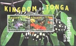 Tonga 2016 Yvertn° 1464A Et B En Bloc *** MNH Cote 163 Euro Faune Papillons Vlinders Butterflies - Tonga (1970-...)