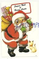 Joyeux Noël Et Bonne Année. Carte De Voeux. Père Noël, Hotte, Petit Chat - Anno Nuovo