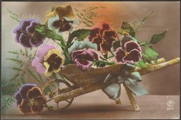 Many Happy Returns, Wheelbarrow And Pansies, 1923 - LF Co RP Postcard - Birthday