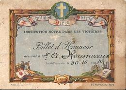 Billet D'Honneur Institution Notre Dame Des Victoires Saint Pourçain Sur Sioule 30 Octobre 1941 - Diplomas Y Calificaciones Escolares
