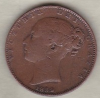 Grande-Bretagne . 1 Farthing 1839. Victoria - 1816-1901 : 19th C. Minting