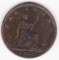 Grande-Bretagne . 1 Farthing 1866 . Victoria . TTB/VF - B. 1 Farthing