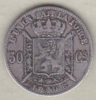 Belgique. 50 Centimes 1866. Légende Francaise. Argent .Leopold II - 1865-1909: Leopold II