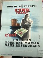 RARE ET TRES BELLE AFFICHE ORIGINALE PETAINISTE / BON DE SOLIDARITE DE 5 FRANC / UN REPAS POUR UNE MAMAN SANS RESSOURCES - 1939-45