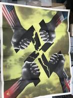 RARE ET TRES BELLE AFFICHE ORIGINALE PROPAGANDE US ANTI NAZI  / LA CROIX GAMMEE BRISEE PAR LES 4 PAYS UNIS - 1939-45