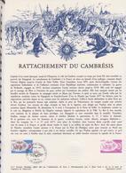 1ER JOUR FEUILLET DOCUMENT PHILATELIQUE 18/1977 RATACHEMENT DU CAMBRESIS - Documents De La Poste