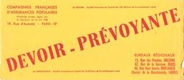 """Buvard """" Devoir-prévoyante """" ( Pliures, Déchirures, Rousseurs, 21.5 X 9 Cm ) - Bank & Insurance"""