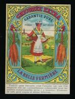 """Ancienne  étiquette Chicorée  Extra Garantie Pure  La Belle Fermiere """"carottes, Femme Coiffe Panier"""" - Fruits Et Légumes"""