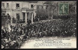 CPA ANCIENNE FRANCE- TROYES (10)- MANIFESTATION DES VIGNERONS EN 1911- DEFILÉ RUE KLEBERT- TRES GROS PLAN - Troyes