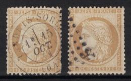 LOT De 2 TIMBRES CERES N° 36 Avec 2 OBLITERATIONS DIFFÉRENTES (CAD & GC) - 1870 Siège De Paris