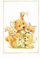 Ours, Renard, Lapin, écureuil, Chien, Rossignol, Marguerite, Signé Illisible. Ed. Rhodania Morehead 1980 Environ - Autres Illustrateurs