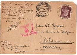 ALLEMAGNE.IIIème REICH. GRUNBERG ISCHLESI Sur HITLER. 1944.  CENSURE. POUR SAINT-ETIENNE (42) - Germania