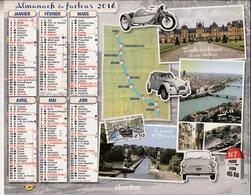 Almanach Du Facteur 2016 - Paris > Lyon : Fontainebleau à Lyon - Lyon > Menton : Avignon à Menton - Dpt 95 - Éd Oberthur - Calendars