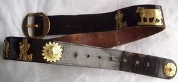 Vintage Swiss Traditional Leather Cow Belt #2 - Belts & Buckles