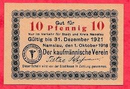 Allemagne 1 Notgeld 10 Pfenning Stadt Namslau état Lot N °1046 BIS - [ 3] 1918-1933 : République De Weimar
