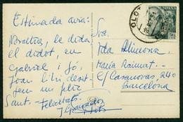 *Joan Granados Llimona* Dibujante. Tarjeta Postal Con Texto Autografo. Fechada Olot Febrero 1954. - Autógrafos