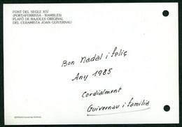 *Joan Guivernau Sans* Ceramista. Tarjeta Postal Con Texto Autógrafo. Fechada Navidad 1984. - Autógrafos