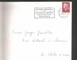 FLAMME 35 EME FOIRE ET EXPOSITION CANINE à CHALON SUR SAONE 1968 - Poststempel (Briefe)