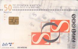 BOSNIA - PTT BIH, Sos, Chip GEM5 (Red) , 50 U, Tirage 200,000, Used - Bosnia