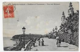 (RECTO / VERSO) MONTE CARLO EN 1914 - THATRE ET TERRASSES - VUE SUR MONACO - BEAU CACHET - CPA VOYAGEE - Opernhaus & Theater