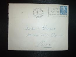 LETTRE TP M.DE GANDON 15F OBL.MEC.31-3 1954 DIEPPE PPAL SEINE INFERIEURE (76) PORT FRUITIER PRIMEURS BANANES - Marcophilie (Lettres)
