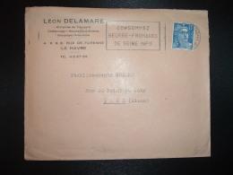 L. TP M. DE GANDON 15F OBL.MEC.8-2 1955 LE HAVRE ENTREPOT SEINE INFRE (76) CONSOMMEZ BEURRE FROMAGES DE SEINE INFRE - Oblitérations Mécaniques (flammes)