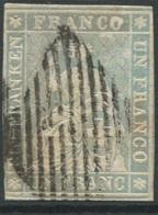 1805 - 1 Fr. Strubel Mit Schwarzem Seidenfaden Sauber Gestempelt Mit Eidgenössischer Raute - 1854-1862 Helvetia (Non-dentelés)