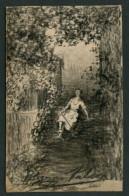 Barcelona. *Pelegri Talarn Angles* Pintor. Dibujo Original + 2 Tarjetas Con Texto Autógrafo Al Dorso. - Autógrafos