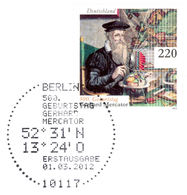 MERCATOR, G. - Germany 2012 Michel # 2918 - FDC - Special Mark Berlin - 500th Birthday Of Mercator - Mercator Projection - Geographie