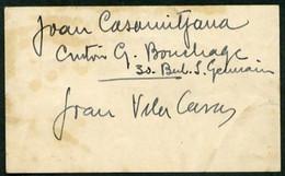 *Joan Vila Casas* Pintor. Tarjeta Meds: 64 X 105 Mms. Con Interesantes Anotaciones, Aprox 1954. - Autógrafos