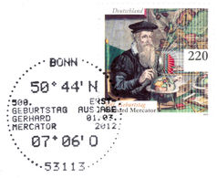 MERCATOR, G. - Germany 2012 Michel # 2918 - FDC - Special Mark Bonn - 500th Birthday Of Mercator - Mercator Projection - Geographie
